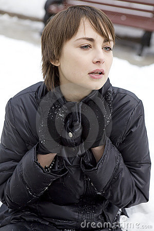 young woman in snow