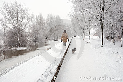 woman walking dog in winter